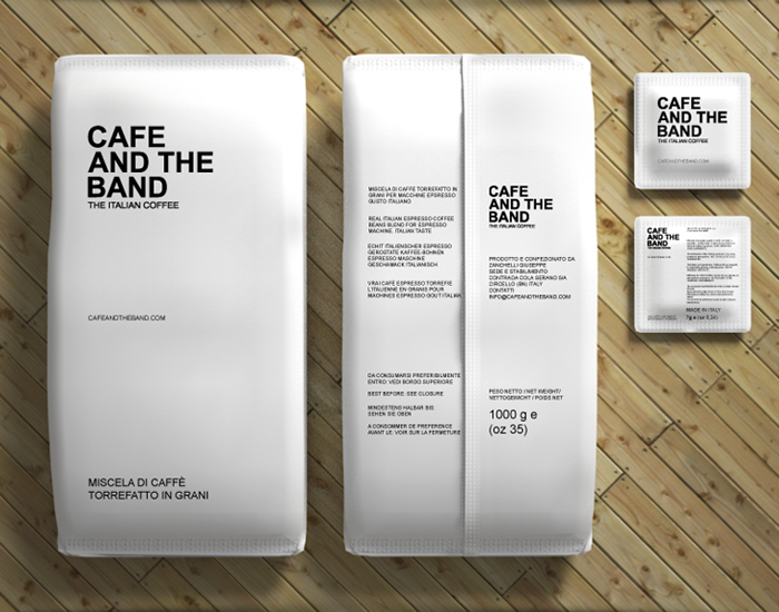 Minimal printed packaging of Cafe and the Band coffee