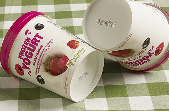Best Before codes on frozen yogurt tubs