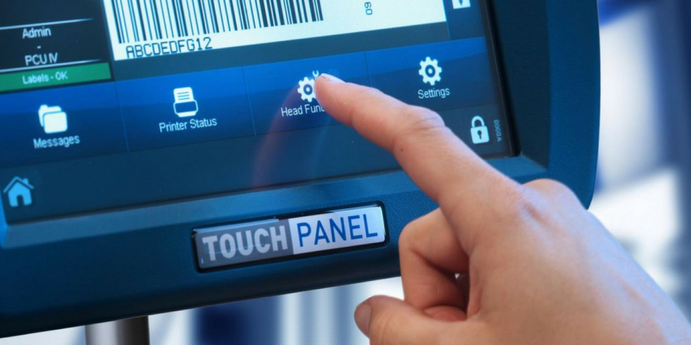 Domino Printing's TouchPanel with barcode on screen