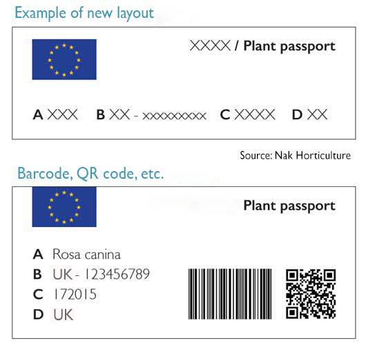 Example of new plant passport layout with black QR code and barcode