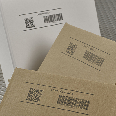 Example of a QR code printed on cardboard boxes
