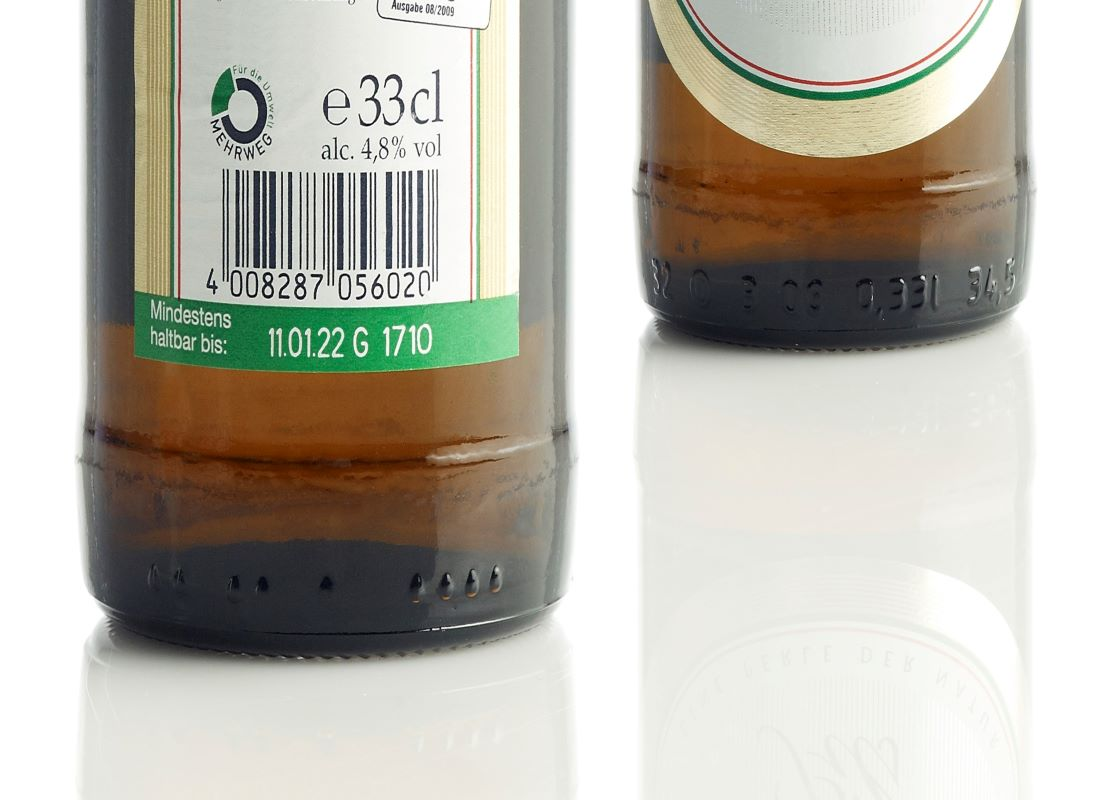 laser code on a beer bottle