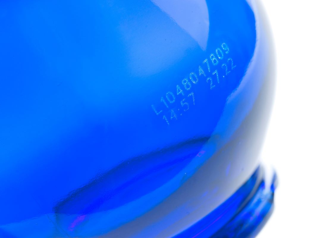 laser code on glass bottle