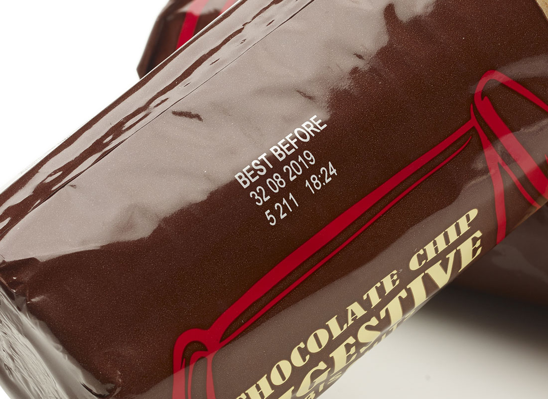 thermal transfer coding on chocolate biscuit packet