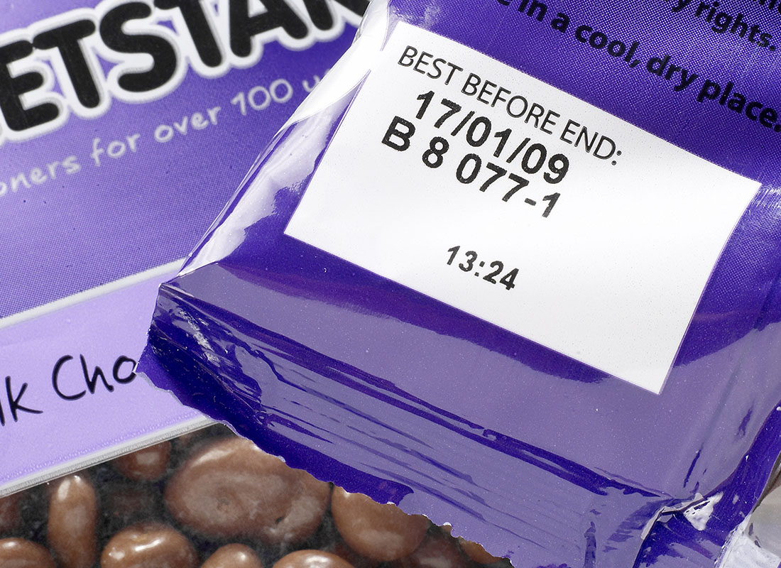 thermal transfer coding on chocolate packet